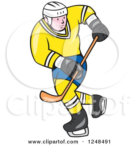 450x470 Clipart Of A Colorful Athlete Playing Ice Hockey