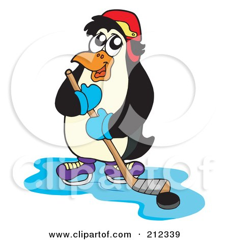 450x470 Clipart Of A Happy Caucasian Male Ice Hockey Player