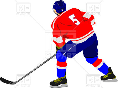 400x298 Ice Hockey Player In Action (Back View) Royalty Free Vector Clip