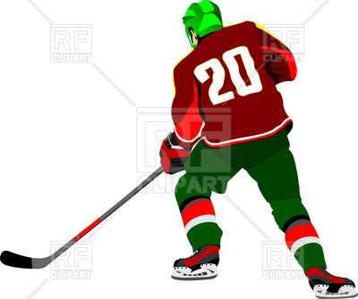 400x335 Ice Hockey Player In Motion Royalty Free Vector Clip Art Image