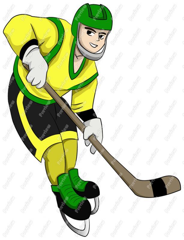 614x800 Professional Hockey Player Clip Art