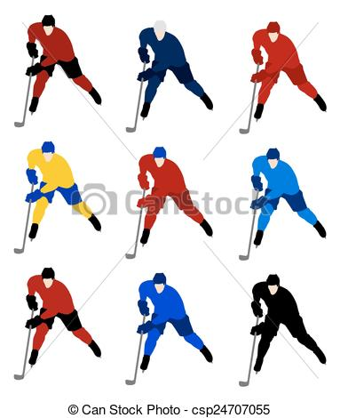 383x470 Set Vector Hockey Players In The National Jerseys Clipart Vector