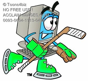 300x276 Stock Clipart Image Of A Cartoon Computer Character Playing Ice Hockey