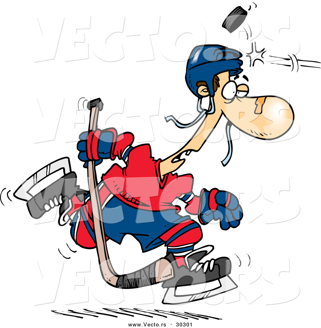 1024x1044 Vector Of A Cartoon Puck Hitting A Hockey Player On The Head By