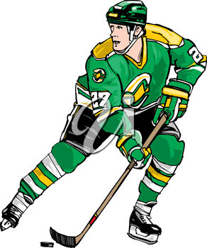 292x350 Clipart Illustration Of A Hockey Player