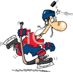 300x297 Clip Art Image A Hockey Player Getting Hit In The Head With A Puck
