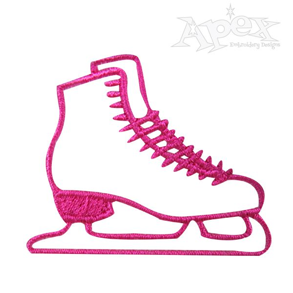 600x600 Ice Skates Embroidery Design. 2 Designs Skates With Bow 4.11 X