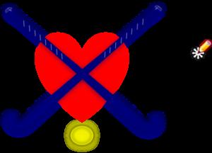 300x216 Hockey Sticks Blue With Heart Clip Art