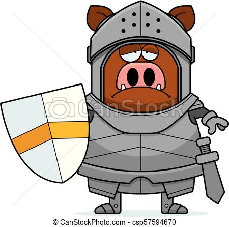 450x446 Sad Cartoon Boar Knight. A Cartoon Illustration Of A Boar