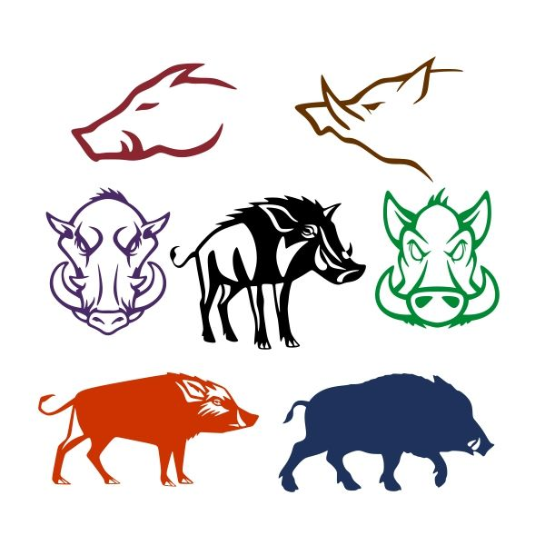 600x600 Wild Boar Pack Cuttable Design Cut File. Vector, Clipart, Digital
