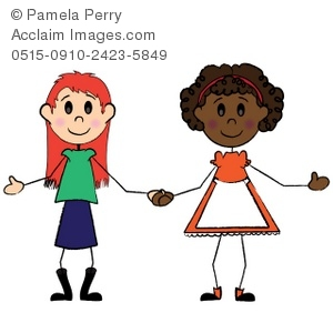 300x300 Girl Friends Holding Hands Clip Art Picture