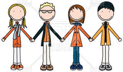 400x235 Kids Holding Hands In Winter Clothes Royalty Free Vector Clip Art