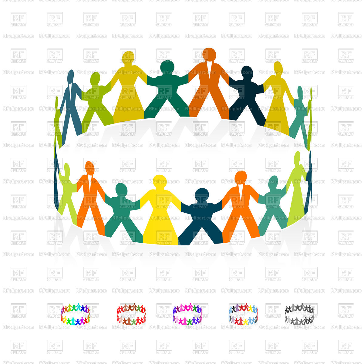 1200x1200 Paper People Holding Hands In Circle Royalty Free Vector Clip Art