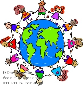 291x300 Royalty Free Clipart Image Kids Holding Hands Around The World