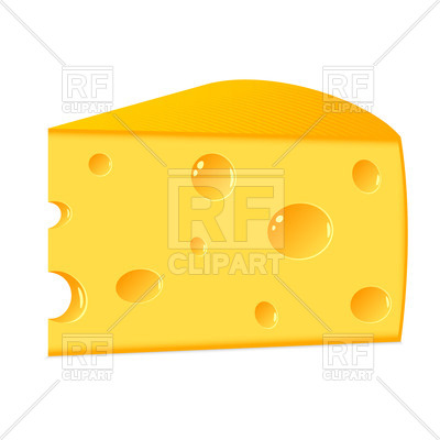 400x400 Piece Of Cheese With Holes Isolated On White Royalty Free Vector