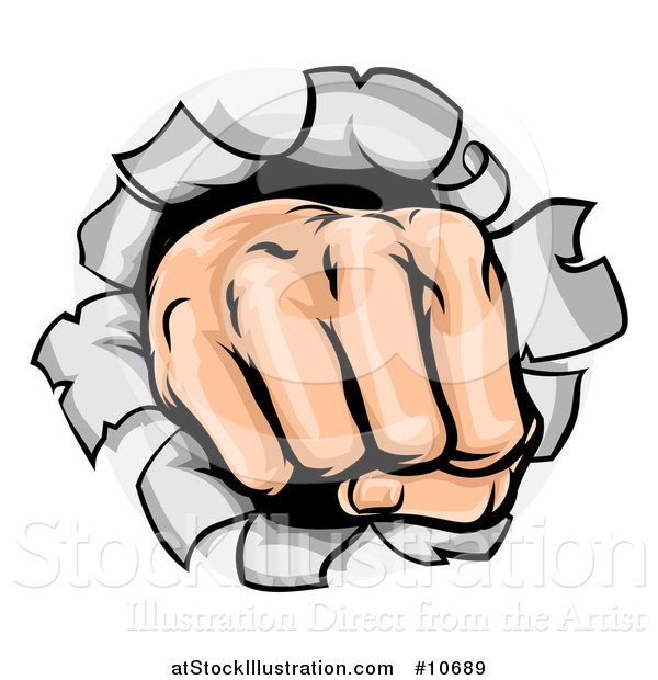 600x620 Vector Illustration Of A Cartoon Fisted Hand Punching A Hole