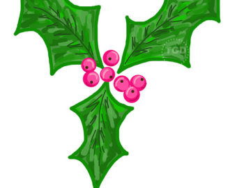 340x270 Items Similar To Holiday Clip Art, Holly, Toadstools And Thin