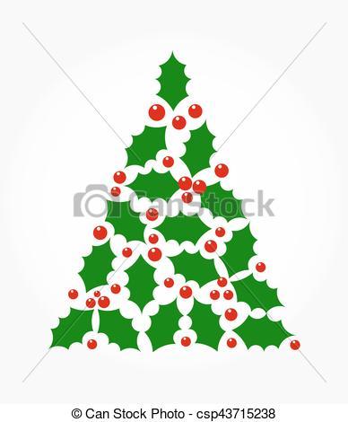 388x470 Chistmas Holly Tree. Christmas Tree Shape Holly Berry Vectors