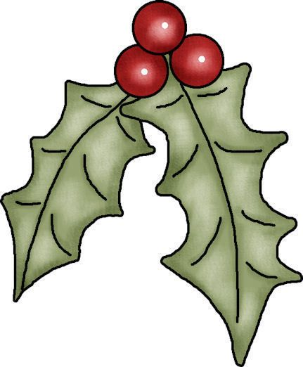 431x522 Holly Leaves And Beries Christmas~misc. Illustrations