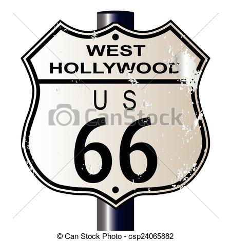 450x470 West Hollywood Route 66 Sign. West Hollywood Route 66 Vector