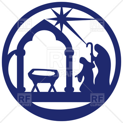 400x400 Blue Silhouette Of Holy Bible Scene Royalty Free Vector Clip Art