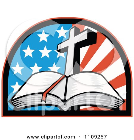 450x470 Clipart Retro Open Holy Bible With A Cross Over An American Flag