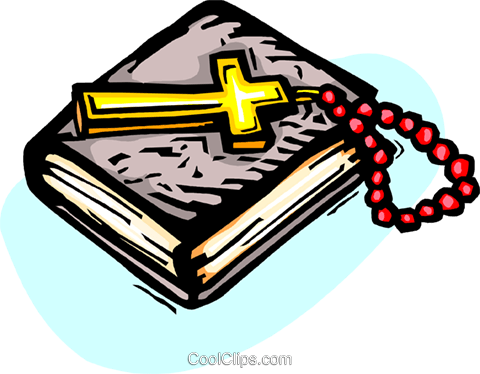 480x374 Holy Bible With Crucifix And Beads Royalty Free Vector Clip Art