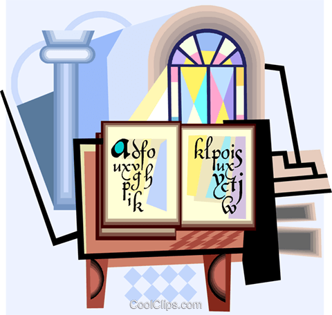 480x456 Bible With Holy Water And Stained Glass Royalty Free Vector Clip