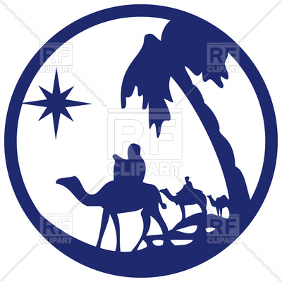 400x400 Blue Silhouette With Scene Of The Holy Bible