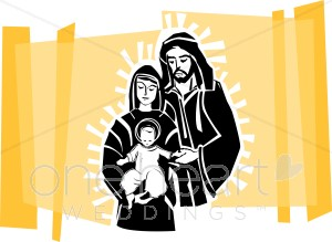 300x219 Glowing Holy Family On Gold Backdrop Religious Wedding Clipart