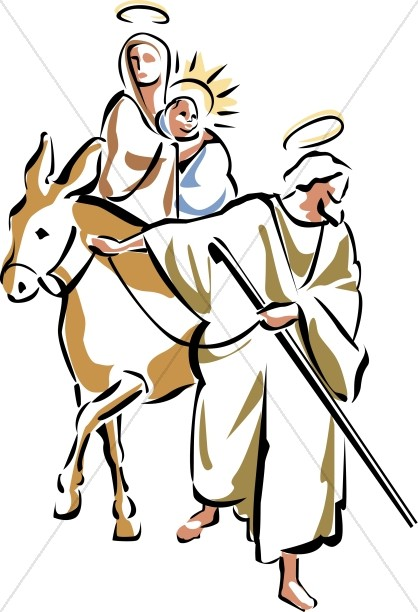 418x612 Holy Family Rides Away Jesus Clipart