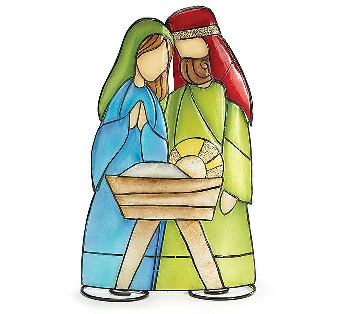 700x629 A 12 H Tin Nativity Holy Family Tabletop Christmas Decor