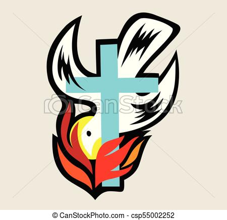 450x436 Holy Spirit Fire With Cross, Art Vector Design Clipart Vector