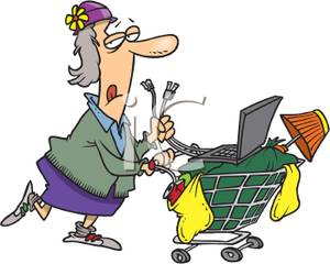 300x240 A Colorful Cartoon A Homeless Woman Pushing A Shopping Cart