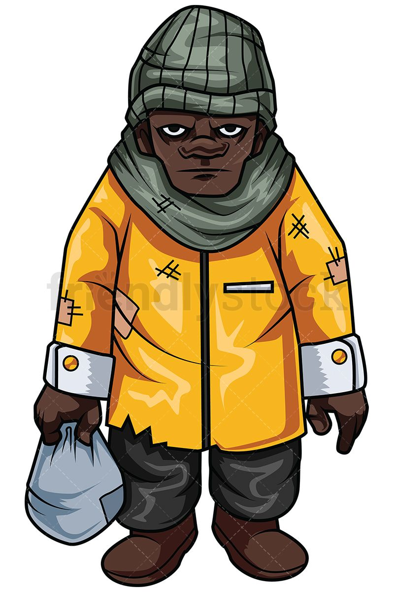 800x1200 Homeless African American Man Vector Cartoon Clipart Cartoon