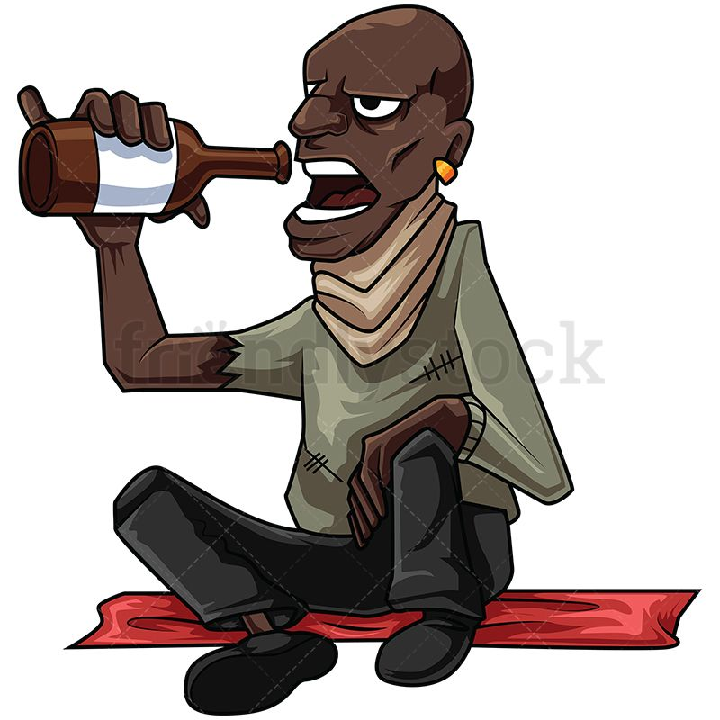 800x800 Homeless Black Man Drinking Alcohol Vector Cartoon Clipart