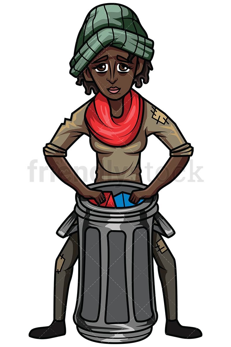 800x1200 Homeless Black Woman Looking For Stuff In Trash Royalty Free