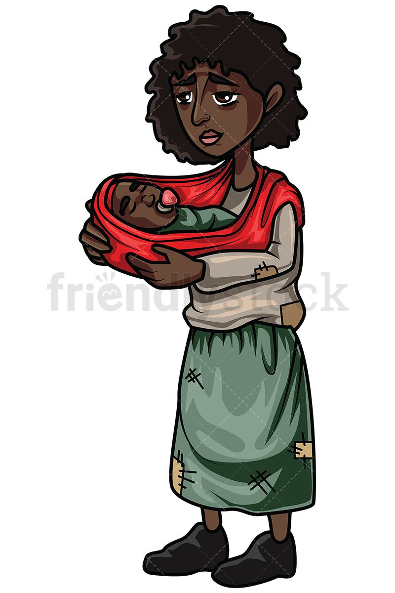 800x1200 Homeless Black Woman With Baby Vector Cartoon Clipart