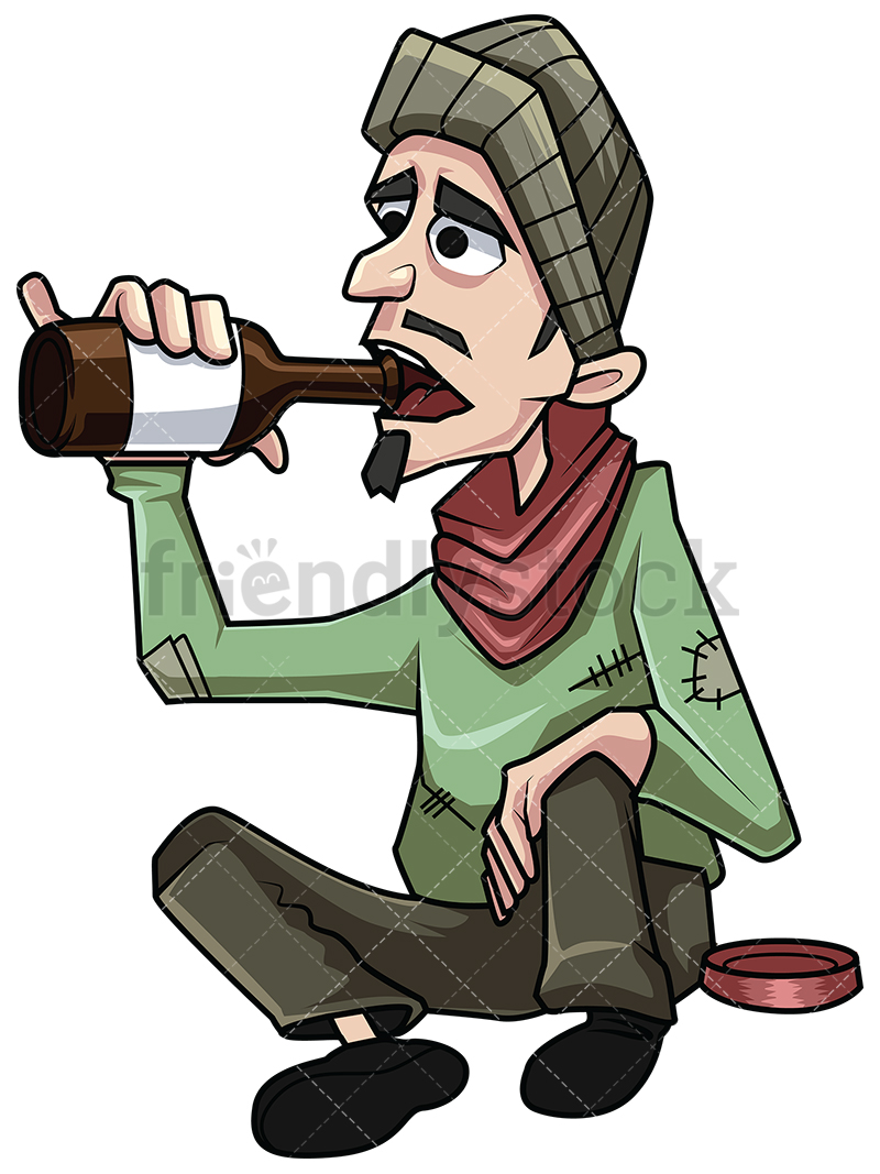 800x1067 Homeless Man Drinking Alcohol Vector Cartoon Clipart