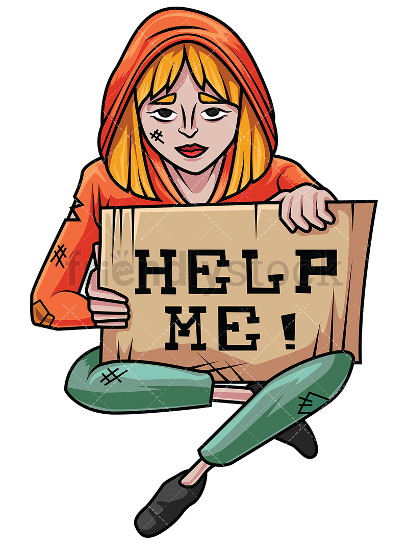800x1067 Homeless Woman In Need Of Help Vector Cartoon Clipart