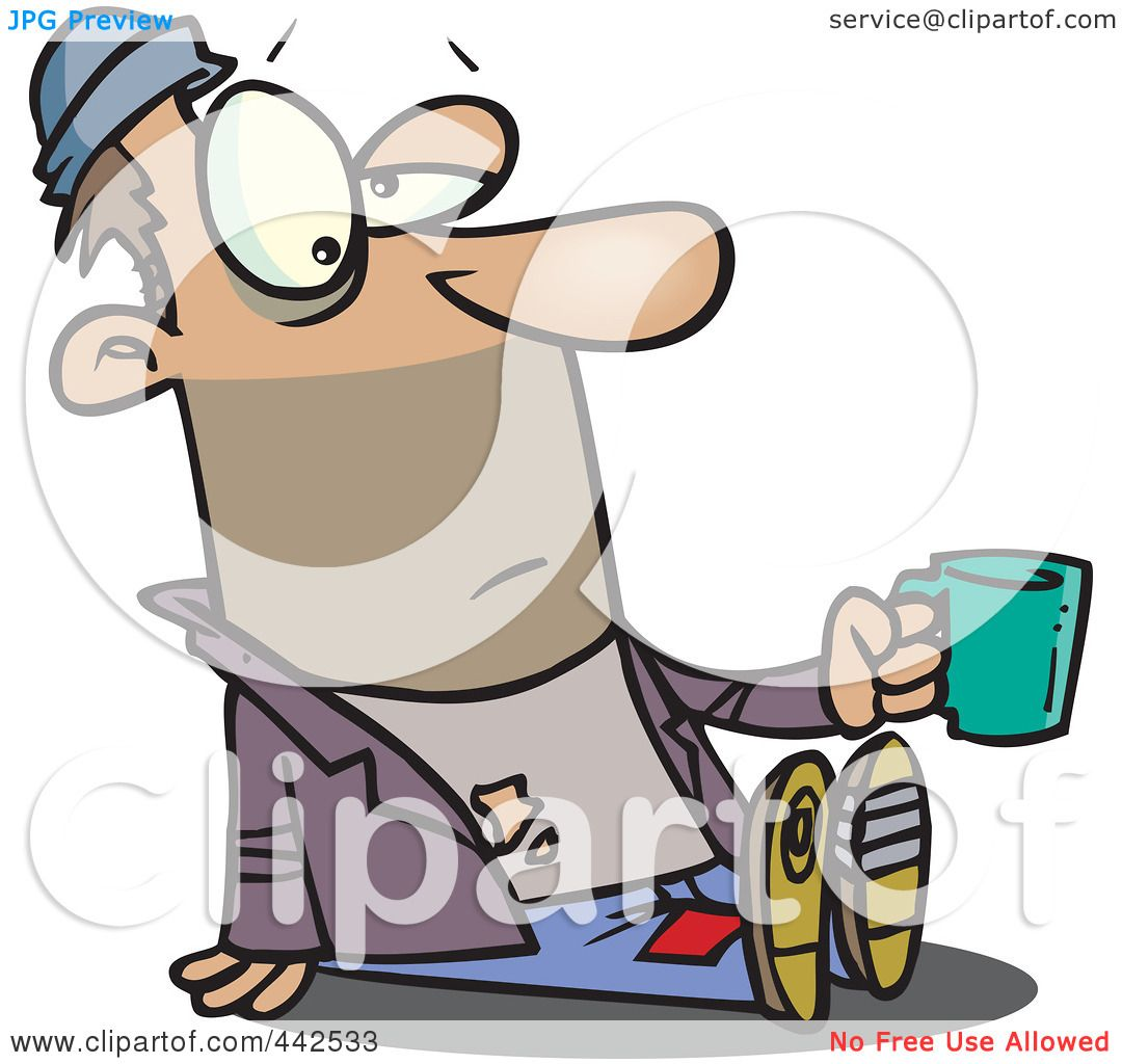 1080x1024 Royalty Free (Rf) Clip Art Illustration Of A Cartoon Homeless Man