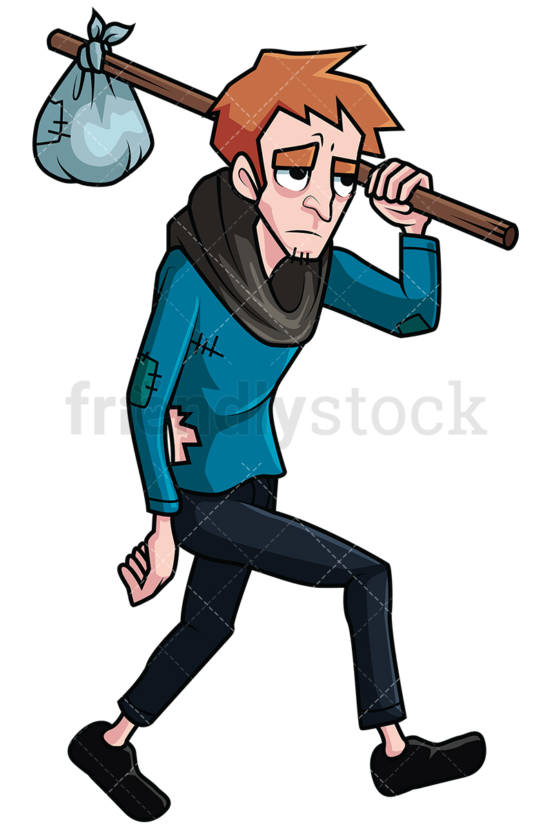 800x1200 Wandering Homeless Man Vector Cartoon Clipart