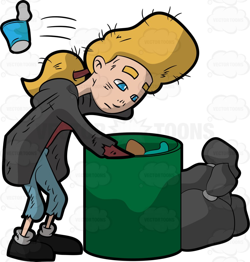 978x1024 A Homeless Woman Looking For Food Inside The Trash Bin Cartoon