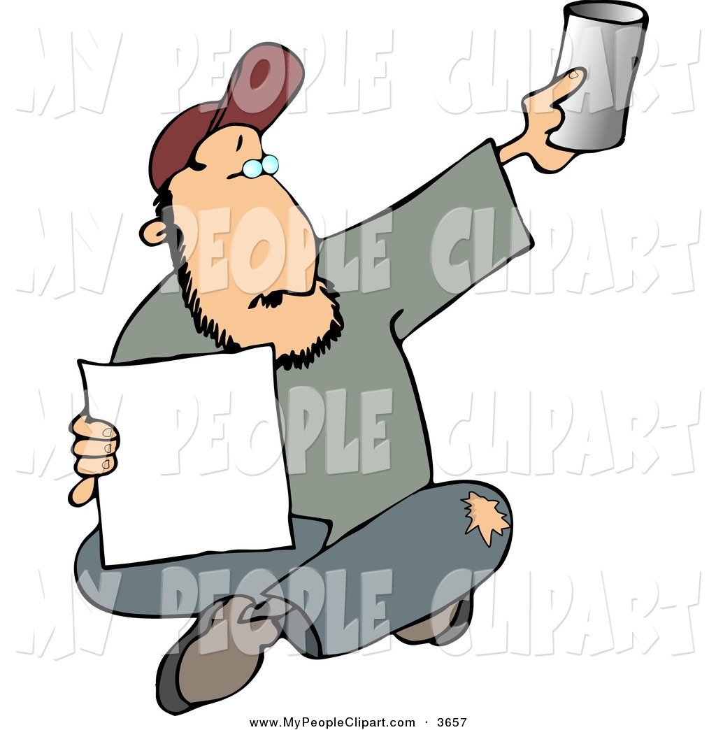 1024x1044 Clip Art Of A Homeless Man Sitting And Begging For Money By Djart