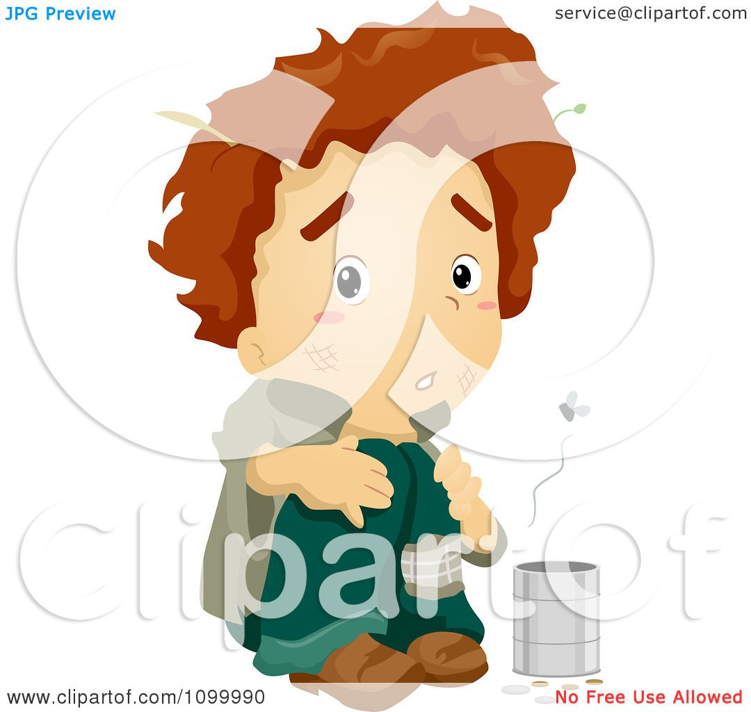 1080x1024 Clipart Smelly Homeless Beggar Boy With A Change Can And Flies
