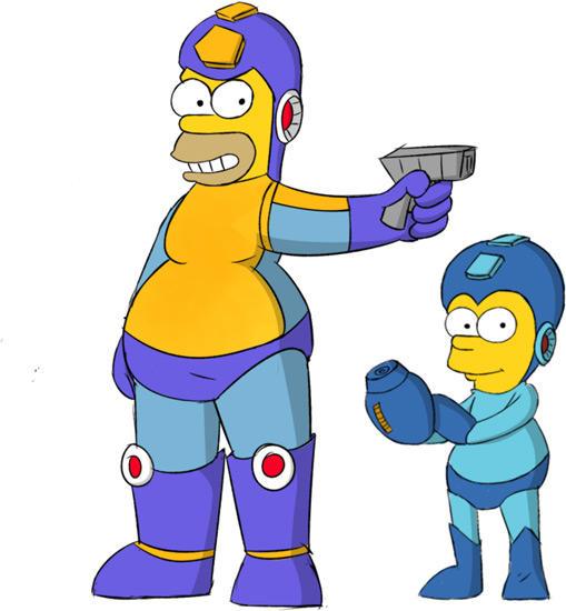 509x550 Mega Homer Amp Rock Bart Mega Man Rockman Know Your Meme