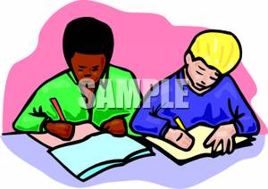 300x212 A Colorful Cartoon Of Students Working On An Assignment In Class