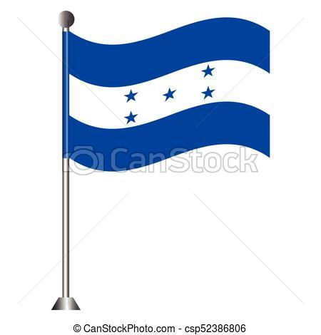 450x470 Flag Of Honduras On A Pole, Vector Illustration Vector Clipart