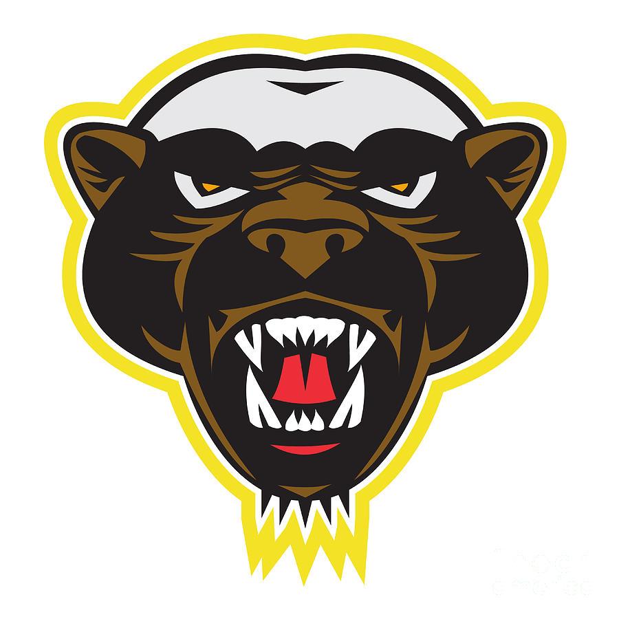 900x900 Honey Badger Mascot Head Digital Art By Aloysius Patrimonio