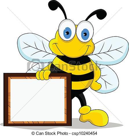446x470 Funny Cartoon Bee Character. Vector Illustration Of Funny